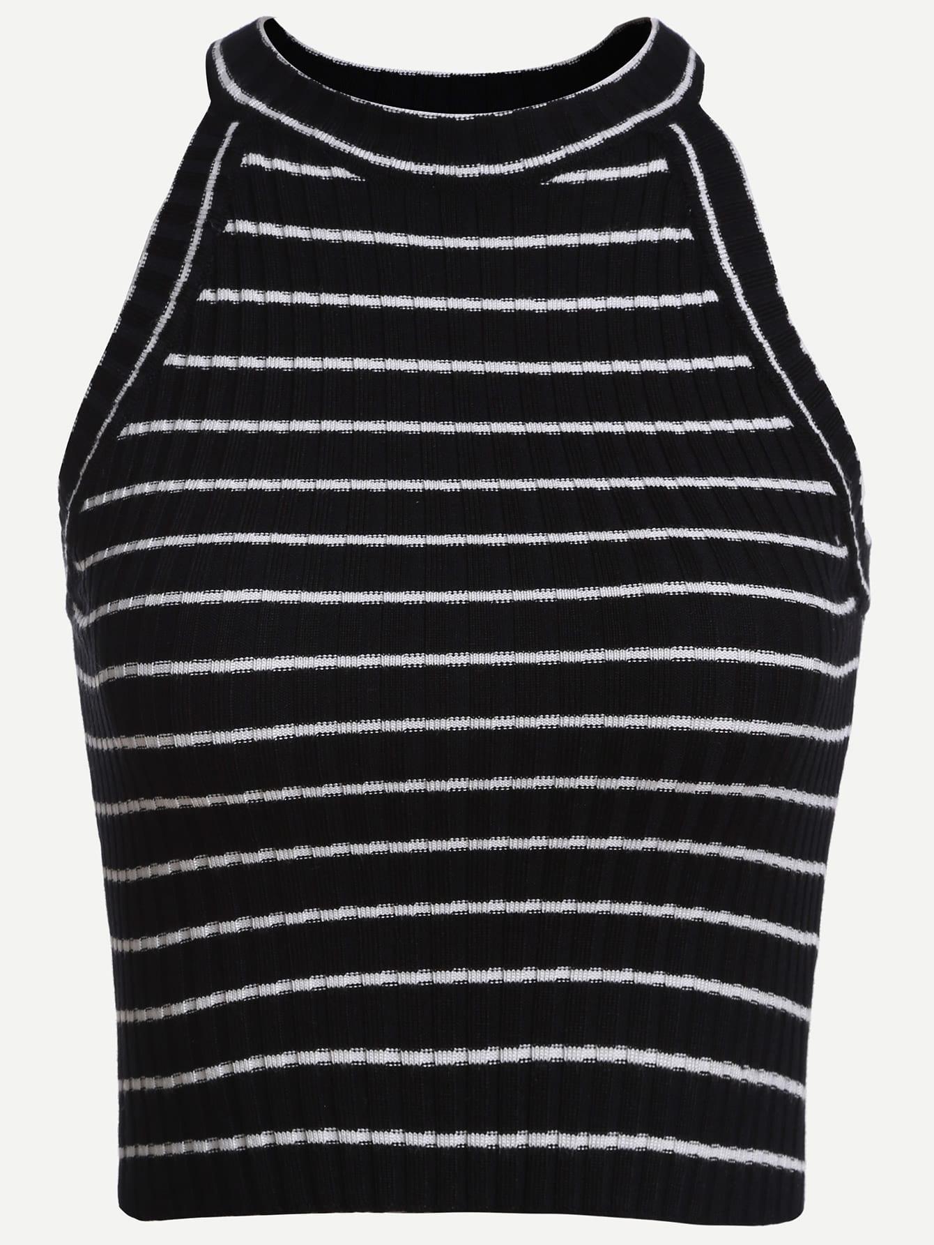 Black Striped Ribbed Knit Halter Neck Top vest160714021