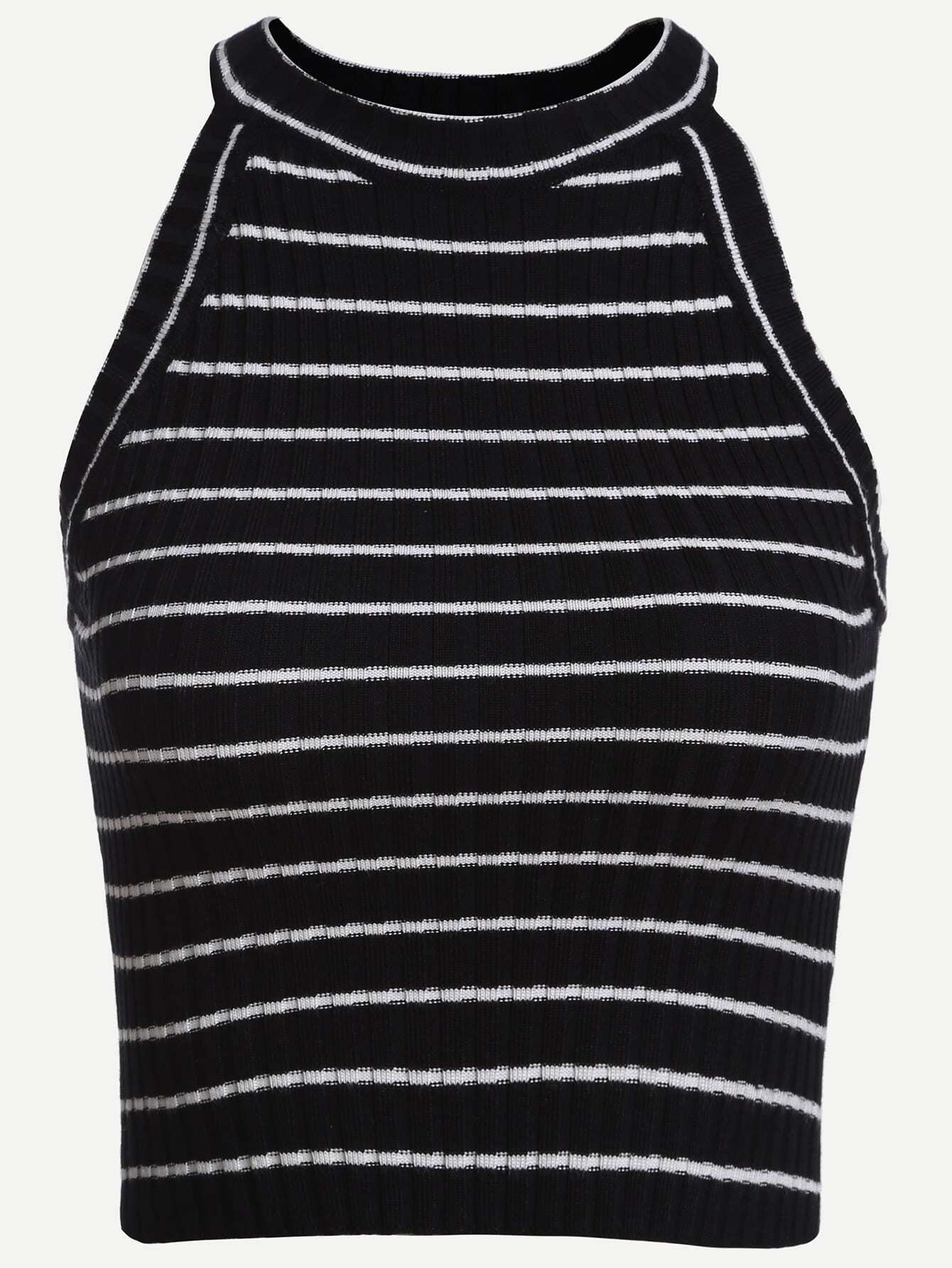 Striped Ribbed Knit Halter Neck Top vest160714021