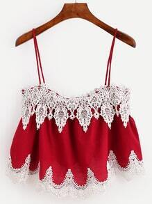 Red Crochet Applique Crop Cami Top