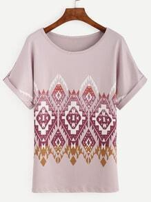 Pink Tribal Print Roll Sleeve Top