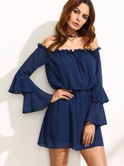Double Flare Sleeve Elasticized Dress