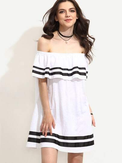 White Striped Trim Ruffle Off The Shoulder Dress