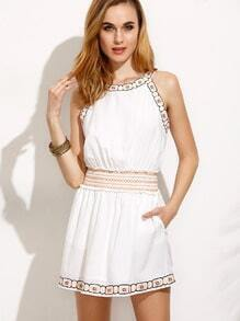 White Pocket Embroidered Sleeveless Dress