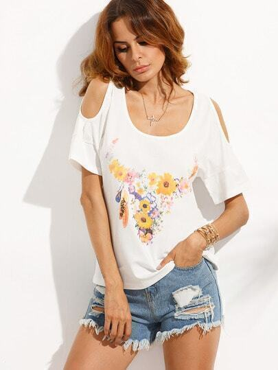 White Floral Scoop Neck Cold Shoulder T-shirt