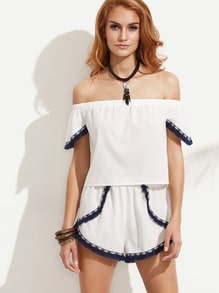White Fringe Trim Off The Shoulder Top With Shorts