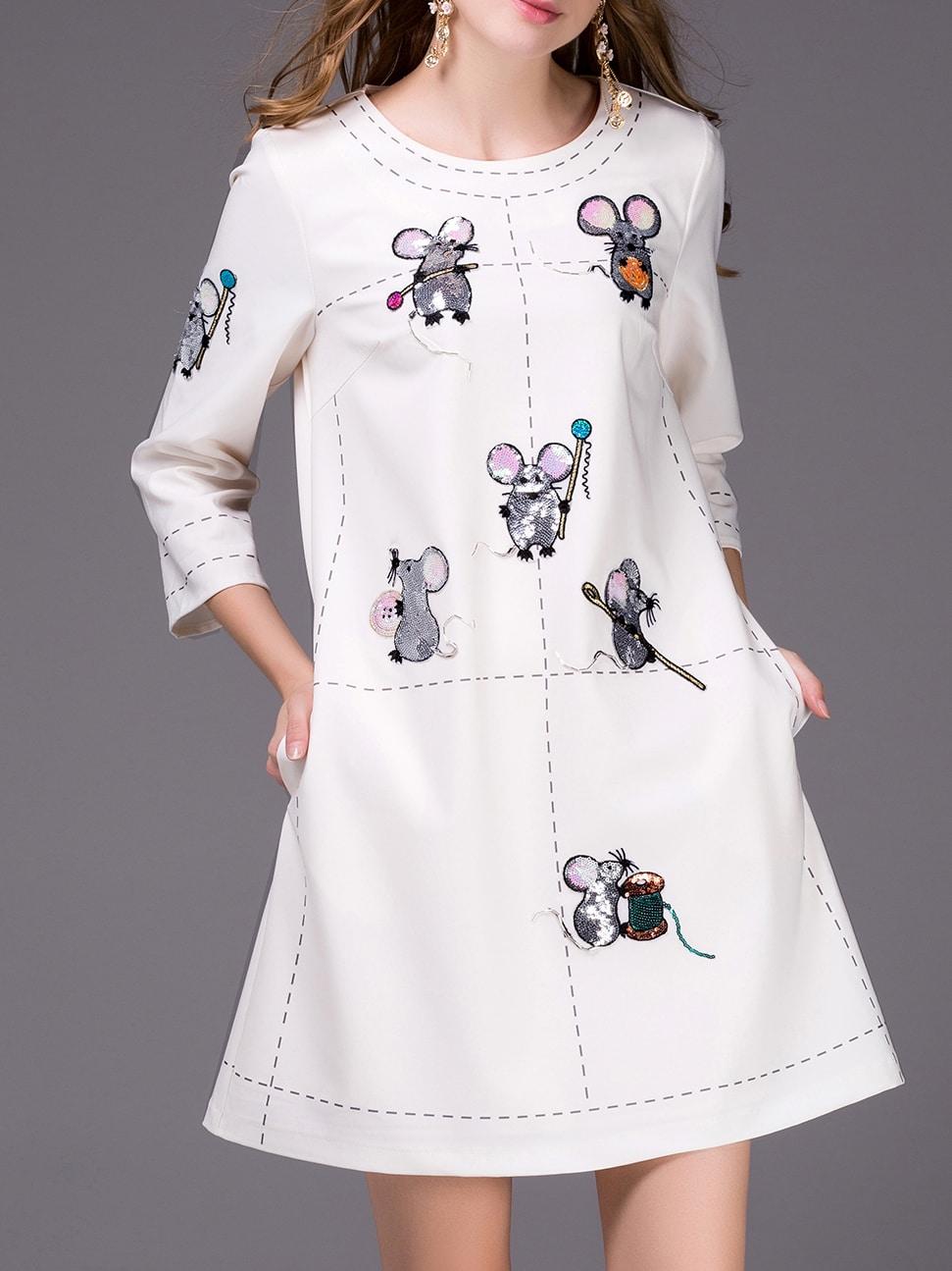 Купить Белое платье с принтом Mouse, null, SheIn