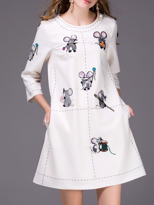 White Mouse Sequined Embroidered Shift Dress, null