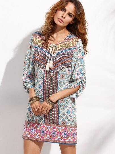 Multicolor Print Lace Up Shift Dress