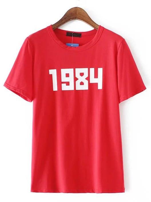Фото Red Round Neck Number Print T-shirt. Купить с доставкой