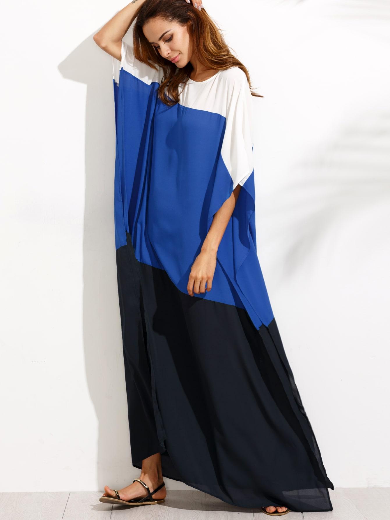 Colorblock Split Maxi DressColorblock Split Maxi Dress<br><br>color: Multicolor<br>size: one-size