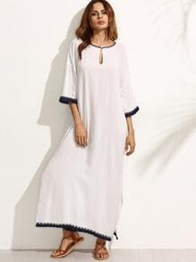 White Fringe Trim Split Side Long Dress