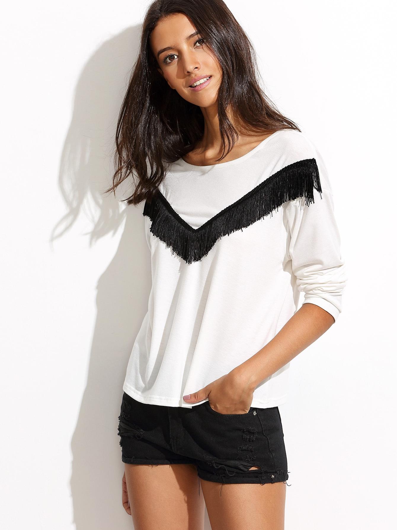 White Fringe Trim Long Sleeve T-shirt long sleeve t shirt