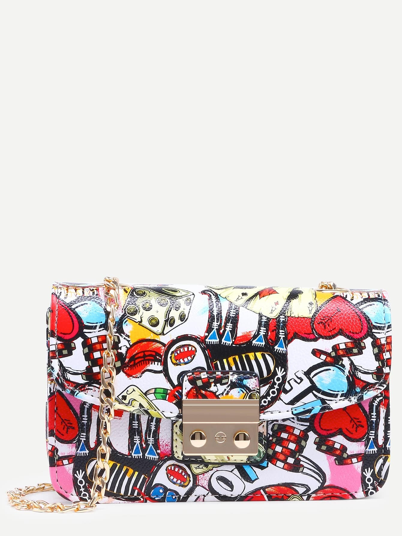 Фото Multicolor Graffiti Print Pushlock Flap Bag. Купить с доставкой