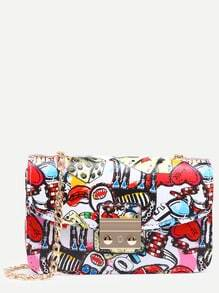 Multicolor Graffiti Print Pushlock Flap Bag