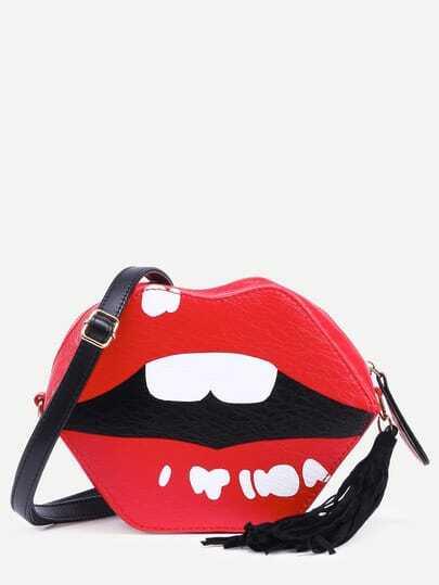 Red Lip Shaped Tassel Trim Crossbody Bag