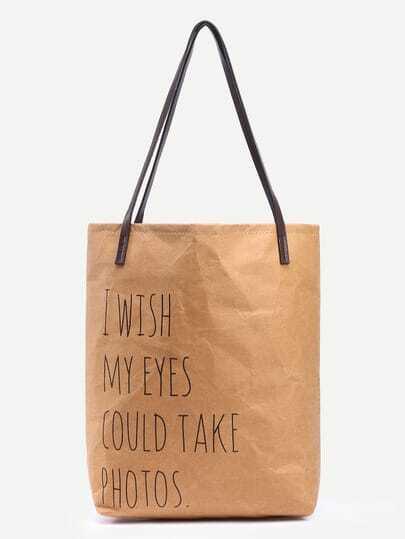 Kraft Papier Einkaufstasche mit gestreiftem Canvas Futter-kamel