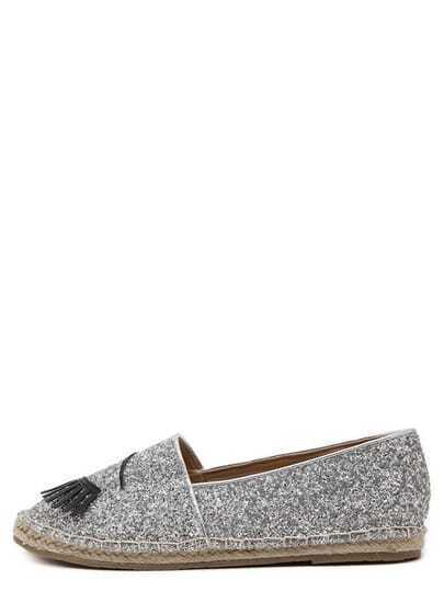Silver Round Toe Applique Eye Slip-on Flats