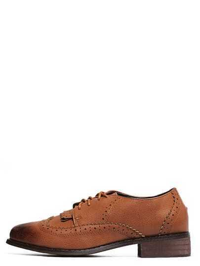Brown Round Toe Lace-up Brogue Chunky Pumps