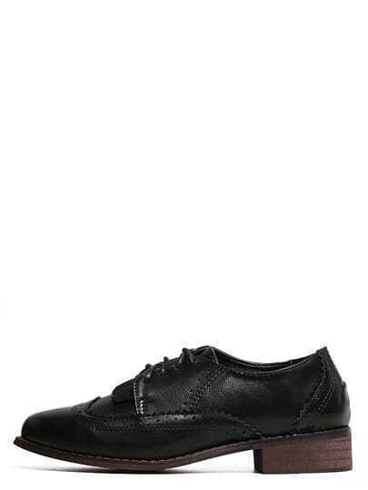 Black Round Toe Lace-up Brogue Chunky Pumps