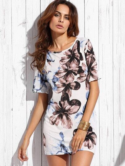 White Flower Print Sheath Dress