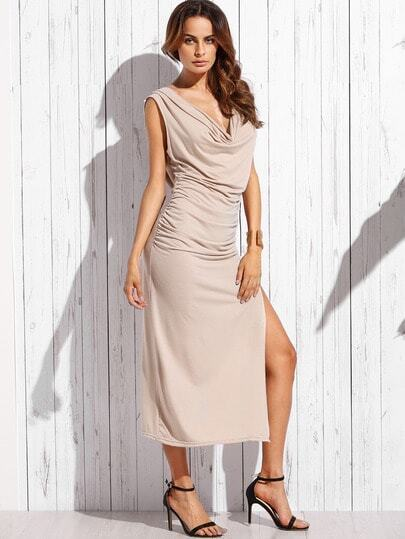 Khaki Double Cowl Crisscross Ruched High Slit Dress