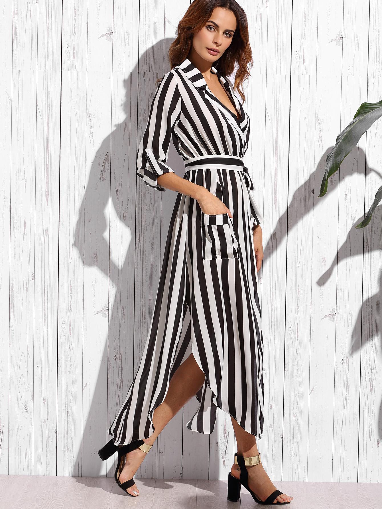 Фото Contrast Vertical Striped Notch Lapel Belted Shirt Dress. Купить с доставкой