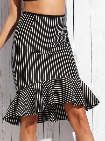Black Mixed Stripe Fishtail Skirt
