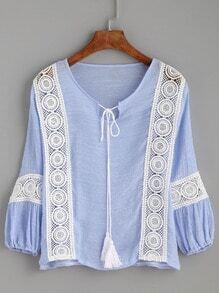 Blue Crochet Insert Tassel Tie Neck Blouse