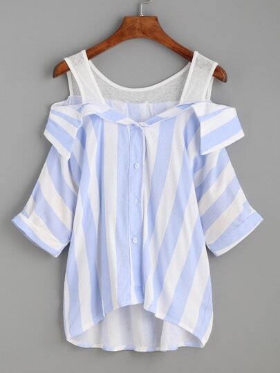 Blue Vertical Striped Button Front Cold Shoulder Blouse