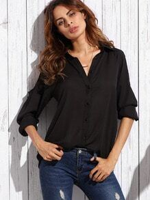 Black Open Shoulder Chiffon Blouse
