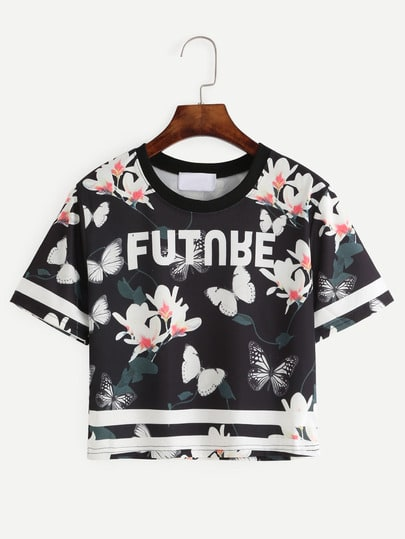 Black Flower and Butterfly Print Varsity T-shirt
