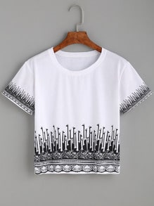 White Giraffe Print Crop T-shirt