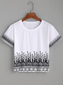 White Giraffe Print Crop T-shirt