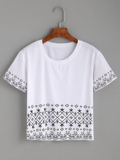 White Tribal Print Crop T-shirt