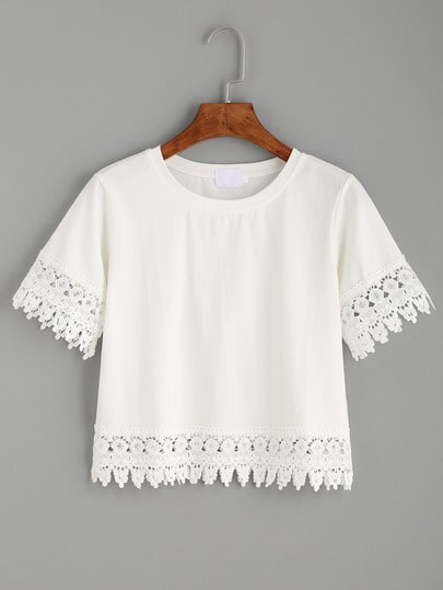 Camiseta crochet crop - blanco