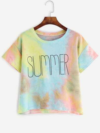 Multicolor Letter Print Pastel Tie Dye T-shirt