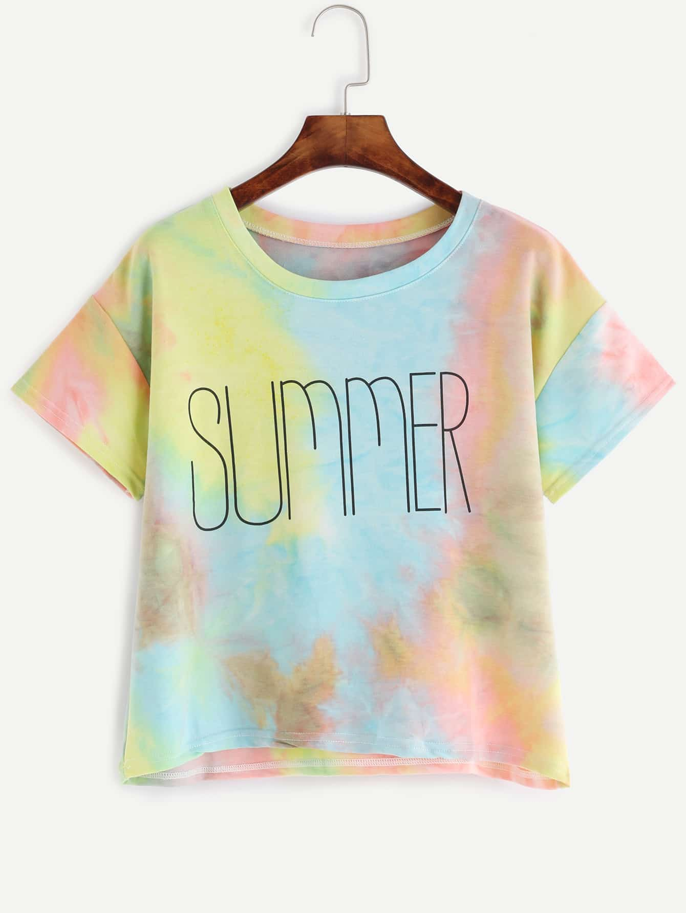 Multicolor letter print pastel tie dye t shirt shein for Tie dye printed shirts