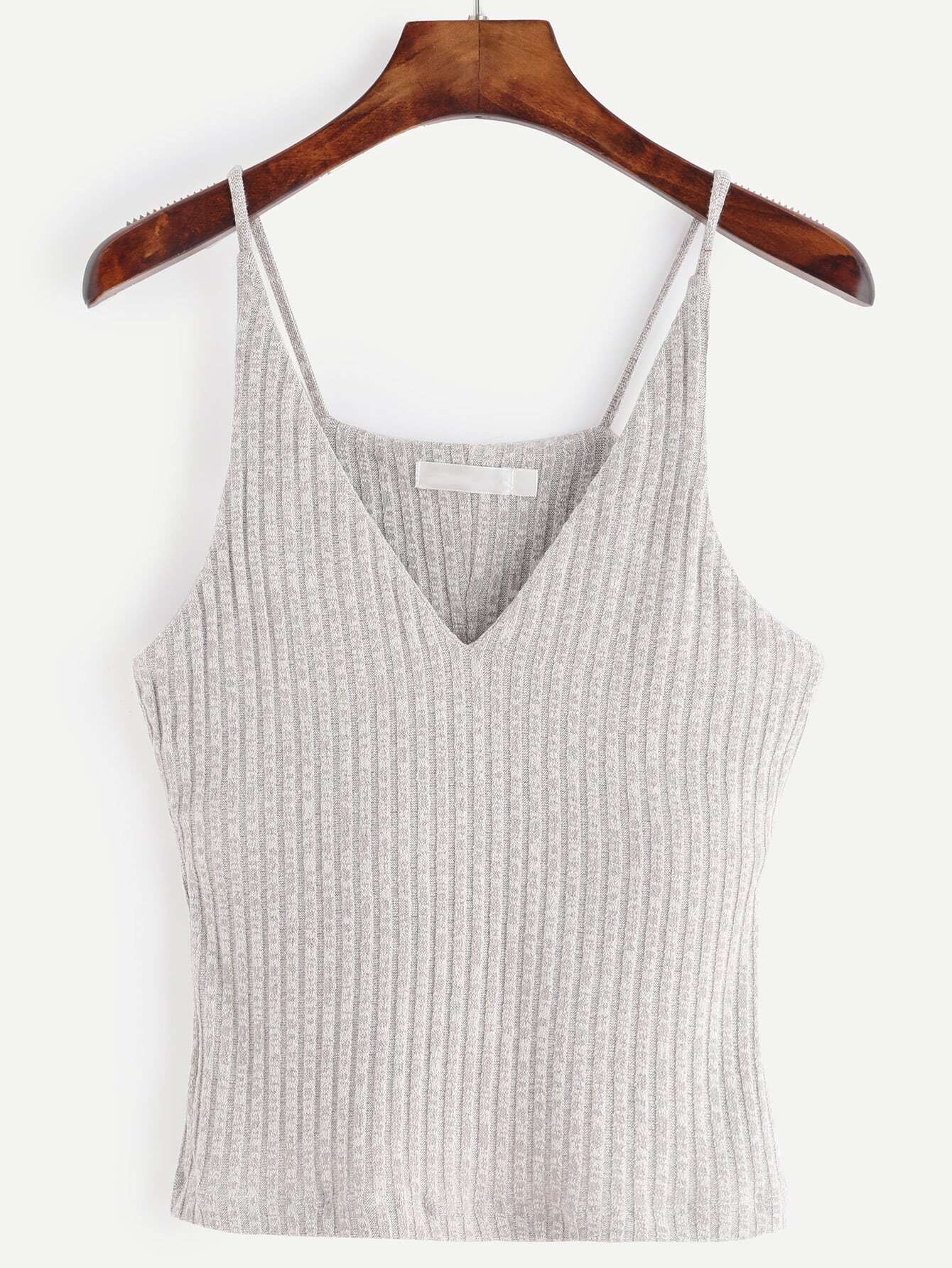 Фото Grey Marled Knit Ribbed Cami Top. Купить с доставкой