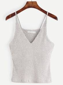 Grey Marled Knit Ribbed Cami Top