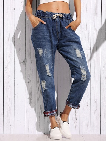 Distressed Boyfriend Jeans With Plaid Lining Detail