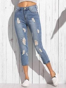 Blue Distressed Skinny Ankle Jeans