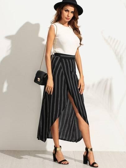 Black Striped Wrap Asymmetrical Self Tie Skirt