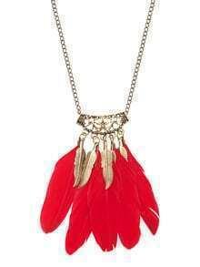 Golden Vintage Leaf Feather Pendant Necklace