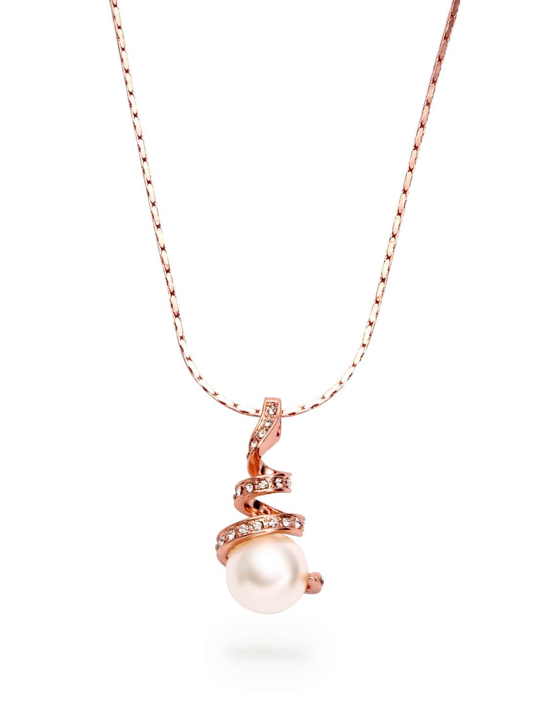 rose gold pearl diamond pendant necklace sheinsheinside