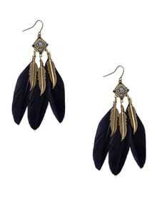 Black Retro Leaf Feather Drop Earrings