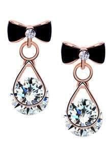 Black Bow Diamond Stud Earrings