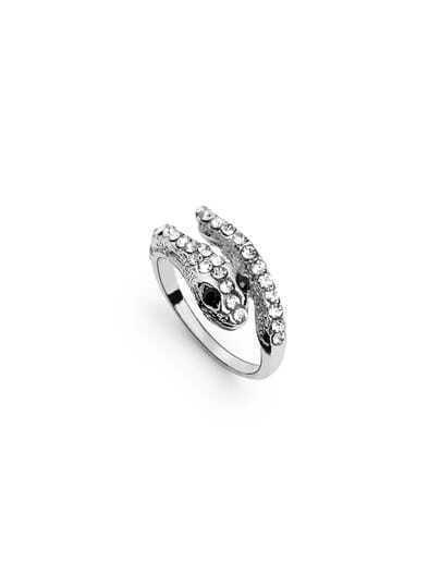 Silver Snake Crystal Ring