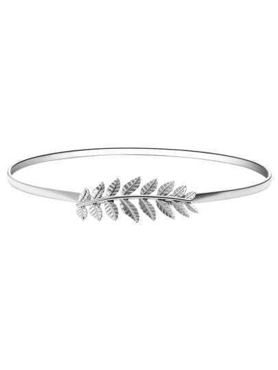 Silver Leaf Shaped Stretch Metal Belt