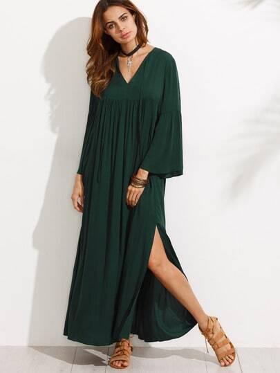 Bell Sleeve Split Maxi Dress