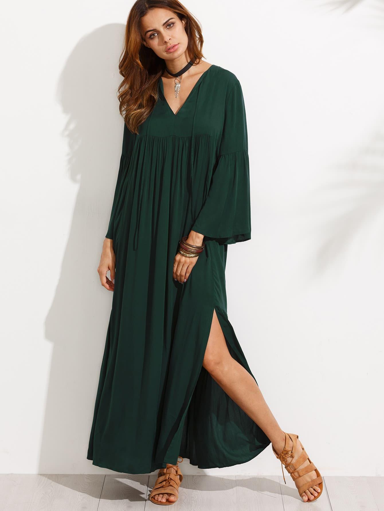 Фото Bell Sleeve Split Maxi Dress. Купить с доставкой